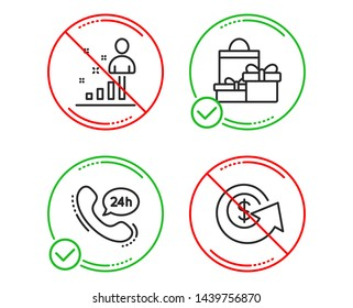 Do or Stop. 24h service, Stats and Shopping icons simple set. Dollar exchange sign. Call support, Business analysis, Holiday packages. Money refund. Business set. Line 24h service do icon. Vector