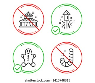 Do or Stop. Circus, Gingerbread man and Fireworks icons simple set. Candy sign. Attraction park, Christmas cookie, Christmas pyrotechnic. Lollypop. Holidays set. Line circus do icon. Vector