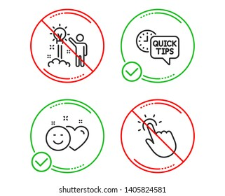 Do or Stop. Creative idea, Smile and Quick tips icons simple set. Touchpoint sign. Startup, Social media like, Helpful tricks. Touch technology. Technology set. Line creative idea do icon. Vector