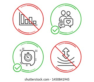 Do or Stop. Dating chat, Timer and Histogram icons simple set. Resilience sign. People love, Time management, Economic trend. Elastic. Line dating chat do icon. Prohibited ban stop. Good or bad