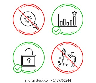 Do or Stop. Efficacy, Energy and Lock icons simple set. Fireworks sign. Business chart, Turn on the light, Private locker. Party pyrotechnic. Business set. Line efficacy do icon. Prohibited ban stop