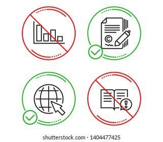 Do or Stop. Histogram, Copywriting and Internet icons simple set. Facts sign. Economic trend, copyright signature, World web. Important information. Education set. Line histogram do icon. Vector