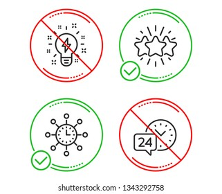 Do or Stop. Inspiration, World time and Star icons simple set. 24h service sign. Creativity, Measurement device, Customer feedback. Call support. Technology set. Line inspiration do icon. Vector