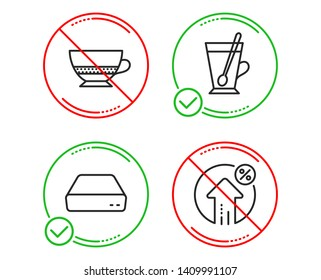 Do or Stop. Mini pc, Tea mug and Bombon coffee icons simple set. Loan percent sign. Computer, Cup with teaspoon, Cafe bombon. Growth rate. Line mini pc do icon. Prohibited ban stop. Good or bad