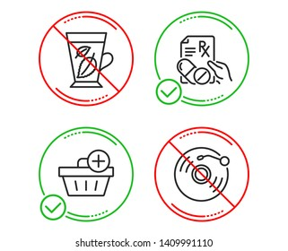 Do or Stop. Mint leaves, Add purchase and Prescription drugs icons simple set. Vinyl record sign. Mentha leaf, Shopping order, Pills. Retro music. Line mint leaves do icon. Prohibited ban stop