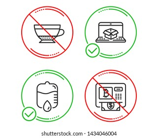 Do or Stop. Online delivery, Drop counter and Dry cappuccino icons simple set. Bitcoin atm sign. Parcel tracking website, Medical equipment, Beverage mug. Cryptocurrency change. Vector