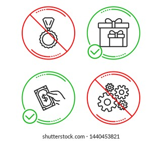 Do Or Stop Pay Money Delivery Boxes And Medal Icons Simple Set Cogwheel