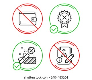 Do or Stop. Reject medal, Sale and Money wallet icons simple set. Algorithm sign. Award rejection, Gift box, Payment method. Project. Business set. Line reject medal do icon. Prohibited ban stop