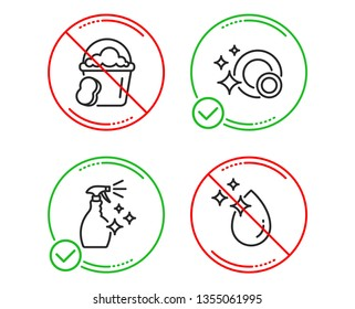 Do or Stop. Sponge, Washing cleanser and Clean dishes icons simple set. Water drop sign. Cleaner bucket, Housekeeping spray, Dishwasher concept. Crystal aqua. Cleaning set. Line sponge do icon