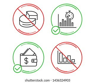 Do or Stop. Wallet, Pie chart and Report timer icons simple set. Histogram sign. Affordability, 3d graph, Growth chart. Economic trend. Finance set. Line wallet do icon. Prohibited ban stop. Vector