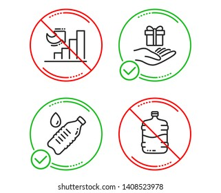 Do or Stop. Water bottle, Loyalty program and Growth chart icons simple set. Cooler bottle sign. Still drink, Gift, Diagram graph. Water drink. Business set. Line water bottle do icon. Vector