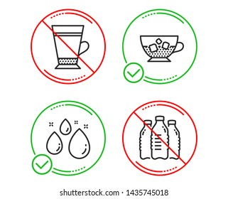 Do or Stop. Water drop, Cold coffee and Latte icons simple set. Water bottles sign. Aqua, Ice cubes in beverage, Coffee beverage. Aqua drinks. Food and drink set. Line water drop do icon. Vector
