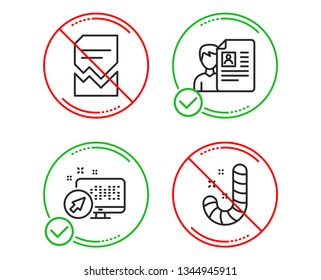 Do or Stop. Web system, Corrupted file and Job interview icons simple set. Candy sign. Computer, Damaged document, Cv file. Lollypop. Business set. Line web system do icon. Prohibited ban stop