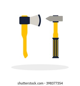 Do it yourself, construction repair tools flat logo.  Isolated tools flat. Home renovation and construction concept with DIY tools.