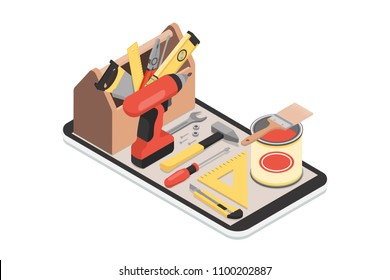 Do it yourself and home renovation app: toolbox and tools on a smartphone with icons