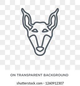 Doberman dog icon. Trendy flat vector Doberman dog icon on transparent background from dogs collection. High quality filled Doberman dog symbol use for web and mobile