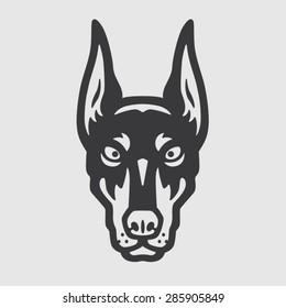 Doberman Head Logo Mascot Emblem