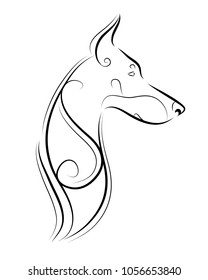 Doberman pincer line art, silhouette, tribal. Freehand vector illustration. Print for POD sites and coloring books.