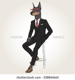 Doberman Pinscher dog dressed up in black suit sitting on the chair, furry art illustration