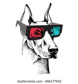 Doberman Pinscher portrait in a 3D glasses. Vector illustration.