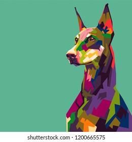 Doberman in pop art illustration. colorful wpap