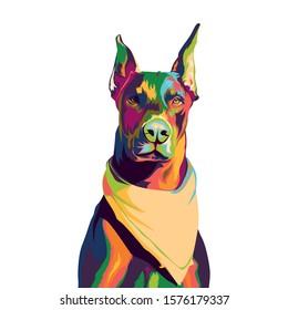 doberman with slayer in colorful pop art illustration. doberman pop art