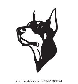 Dobermann dog face - isolated outlined vector illustration