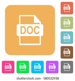 DOC file format flat icons on rounded square vivid color backgrounds.