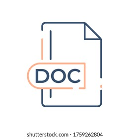 DOC File Format Icon. DOC extension line icon.