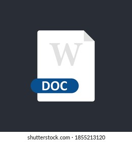 Doc file icon. Word document format file. Vector