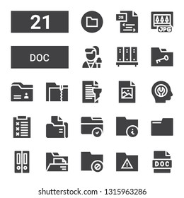 doc icon set. Collection of 21 filled doc icons included Doc, Folder, Folders, Report, Fixed, Jpeg, Reporter, Jpg, Js