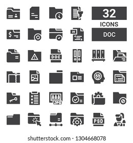 doc icon set. Collection of 32 filled doc icons included Reporter, Psd, Folder, Jpg, Report, Fixed, Jpeg, Folders, Doc, Js