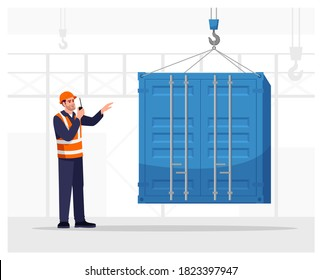 Dock worker semi flat vector illustration. Loading freight container. Cargo shipping service. Port male worker in hard hat with walkie talkie radio 2D cartoon character for commercial use