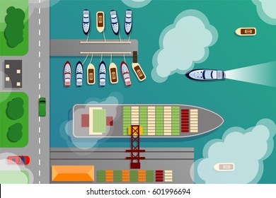 Dockyard harbor terminal aerial top view with cargo ship and ocean boats vector illustration. Sea terminal port with cargo ship