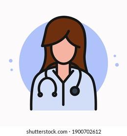 Docter Women Icon Cartoon. Female Nurse Logo. Professional Healthcare Design Vector Symbol Illustration