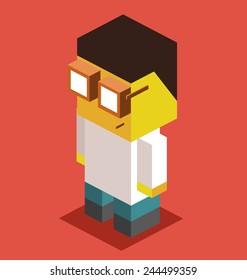 doctor. 3d pixelate isometric vector