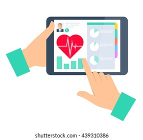 Doctor advises a patient on a tablet computer. Telemedicine and telehealth flat concept illustration. Hand, tablet, heart with pulse on a display. Tele and remote medicine vector element infographic.