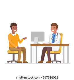 Doctor and african american patient. Vector medicine illustration