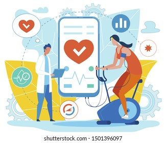 Doctor Analysing Indicators when Girl Exercising on Bicycle inside House Wearing Sports Clothes to Burn Calories Vector Illustration. Mobile Phone with Health Care Application Connected to Simulator.