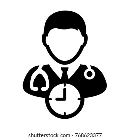 Doctor Appointment Icon Vector With Stethoscope for Medical Consultation Physician Profile Male Avatar with Clock Time Symbol in Glyph Pictogram illustration