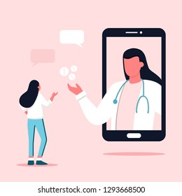 Doctor appointment. Online consultation. Modern healthcare technologies. Hospital. Young female character talking with female doctor or gynecologist on smartphone screen. Antenatal clinic
