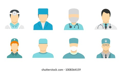 Doctor avatar icon set. Flat set of doctor avatar vector icons for web design isolated on white background