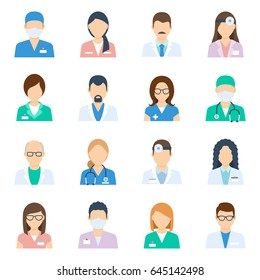 Doctor avatar male and female set, nurses and medical staff, professional images to use in forums, blogs, websites or instant messengers. Vector flat style illustration isolated on white background