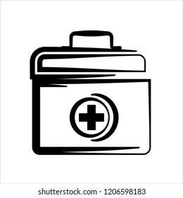 Doctor Bag Icon, First Aid Box Icon Vector Art Illustration