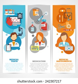 Doctor banner vertical set with medical tests instruments medication elements isolated vector illustration