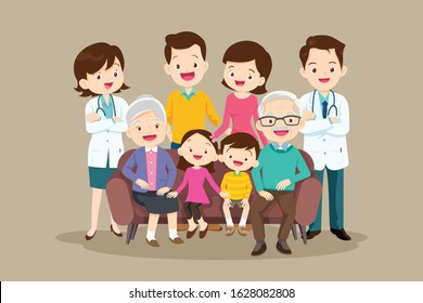 Doctor and Big happy family sitting on the sofa. Grandmother, grandfather, father, mother, children illustration in cartoon style.