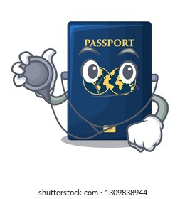 Doctor blue passport in the cartoon form