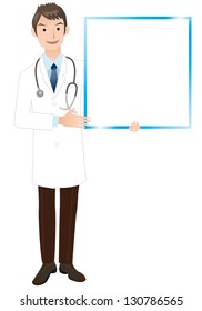 Doctor with board