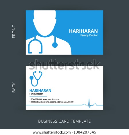 Doctor business card blue white cards stock vector royalty free doctor business card blue and white cards healthcare medical card template fbccfo Choice Image