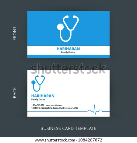 Business Card Template For Doctors | Doctor Business Card Blue White Cards Stock Vector Royalty Free